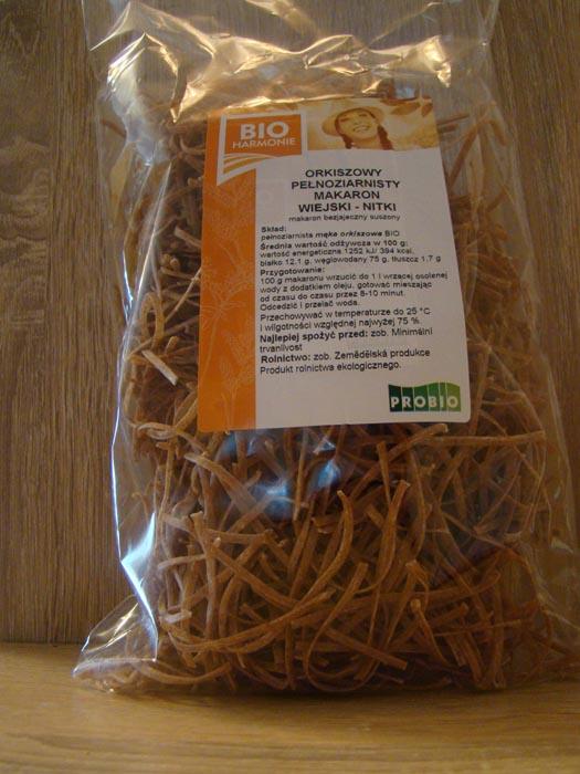 Makaron orkiszowy nitki bio